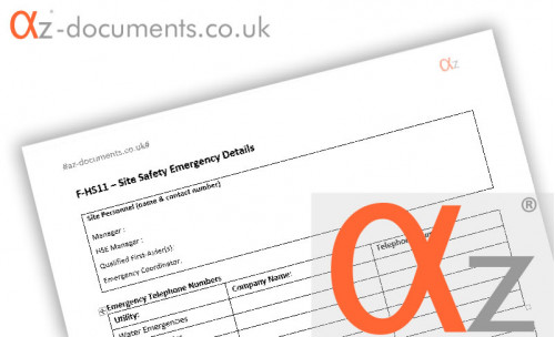 F-HS11 Site Safety Emergency Details Form